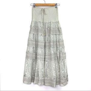 Anthropologie Lapis Mint Lace Peasant Maxi Skirt